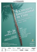 Cartel del 4to Concurso Internacional de Flauta Maxence Larrieu